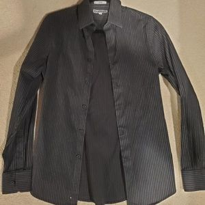Express men's fitted black button down shirt
